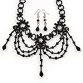Black Glass Bead Gothic Costume Choker Necklace And Earring Set In Silver Plating