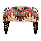 Homescapes Upholstered Kilim Solid Wood Rectangular Stool Red