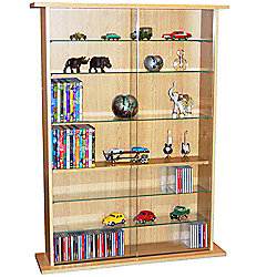 Boston - Glass Collectable Display Cabinet / Cd Dvd Storage Shelves - Beech