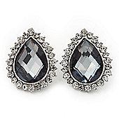 Light Grey Crystal Teardrop Stud Earrings In Silver Tone Metal - 2.5cm Length