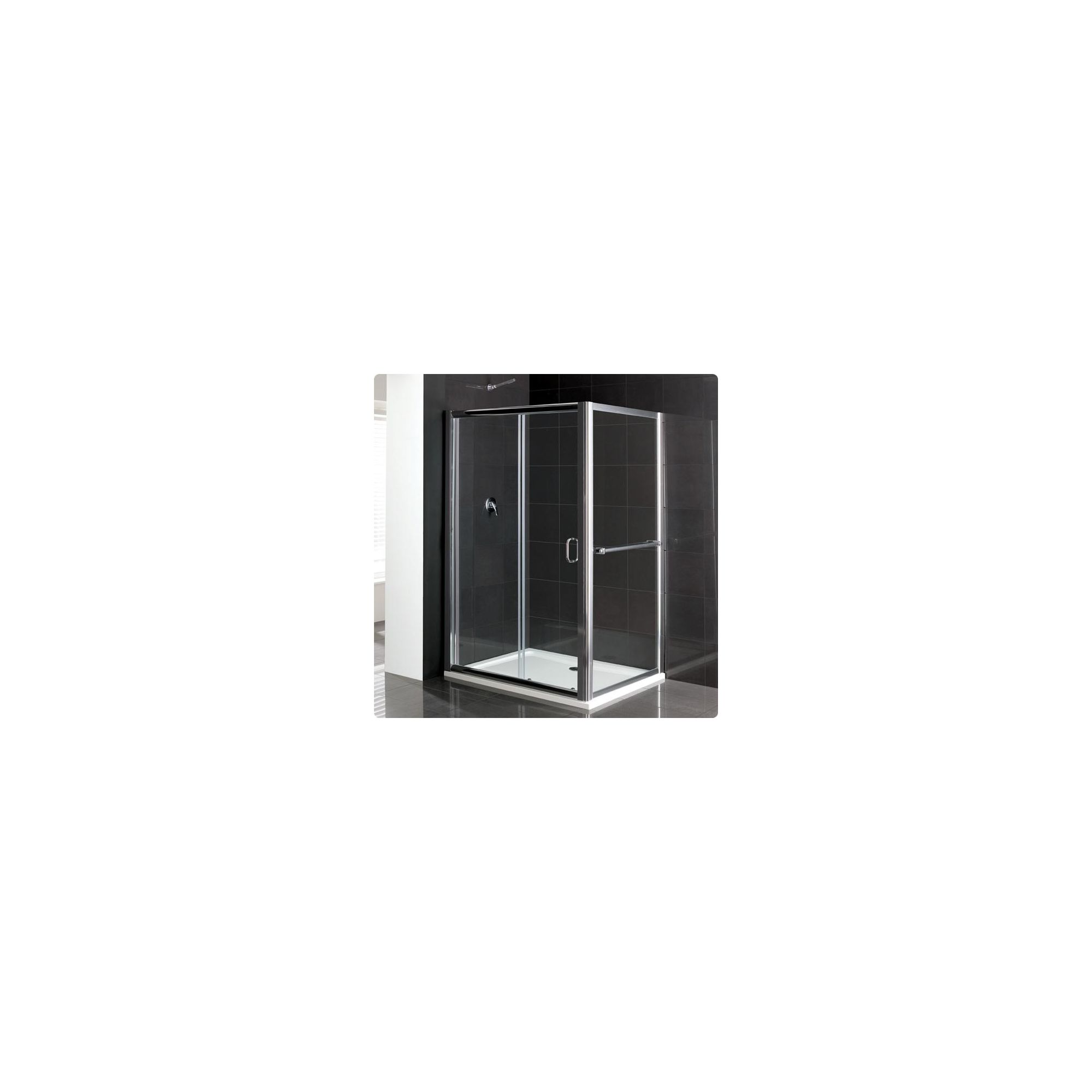 Duchy Elite Silver Sliding Door Shower Enclosure with Towel Rail, 1600mm x 700mm, Standard Tray, 6mm Glass at Tesco Direct