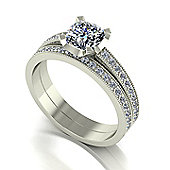 18ct White Gold Moissanite Ring Set