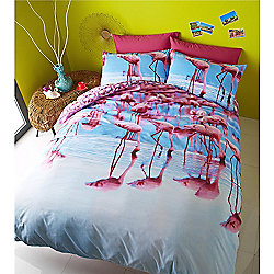 Catherine Lansfield Flamingo King Size Photographic Quilt Set Multi Coloured
