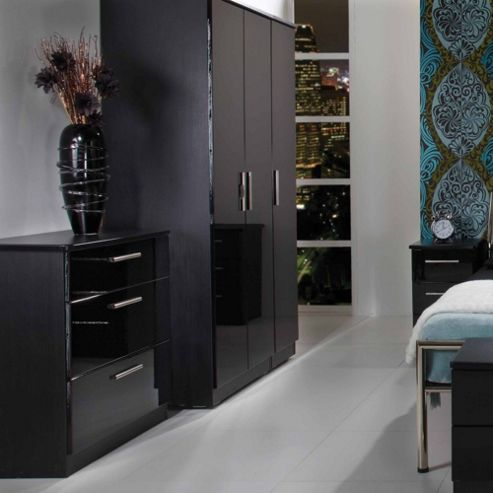 Welcome Furniture Knightsbridge Tall Wardrobe with Mirror - Black - Ebony