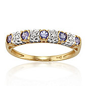 Gemondo 9ct Yellow Gold 0.23ct Tanzanite & 2pt Diamond Half Eternity Band Ring