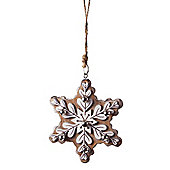 Hanging Brown Wooden Snowflake Christmas Tree Decoration with Bells