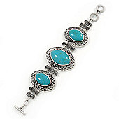 Vintage Turquoise Style Oval Filigree Bracelet With Toggle Clasp -18cm Length