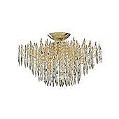 Gold Plated Halogen Ceiling Chandelier Light with Crystal Glass