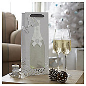 Tesco Champagne Design Bottle Bag & Gift Tag, Silver