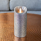 Large Silver Glitter Battery Dancing LED Flame Candle