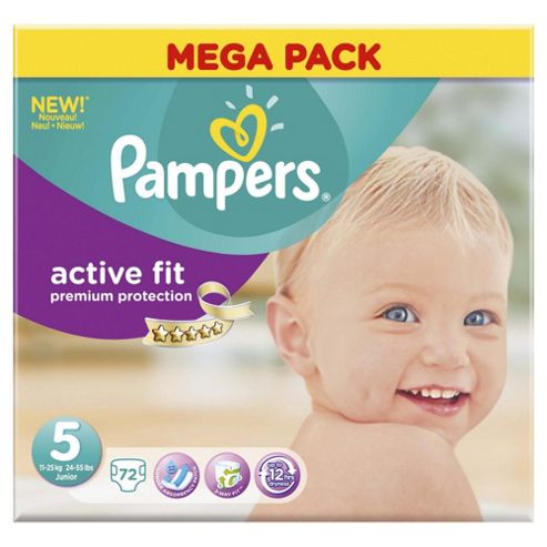 Pampers Active Fit Size 5 Mega Pack - 72 nappies