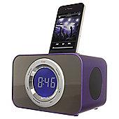 Kitsound Radio Clock Dock for iPhone 4/4s, Purple