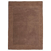 Tesco Tiered Border Wool Rug Mocha 120X170Cm
