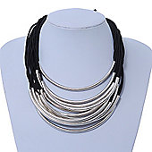 Contemporary Multistrand Black Cord With Curved Metal Bar Necklace - 46cm Length