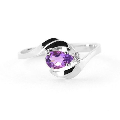 QP Jewellers Diamond & Amethyst Flare Ring in 14K White Gold - Size A