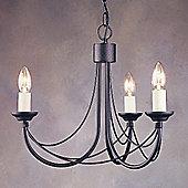 Elstead Lighting Carisbrooke Three Light Candle Chandelier - Black