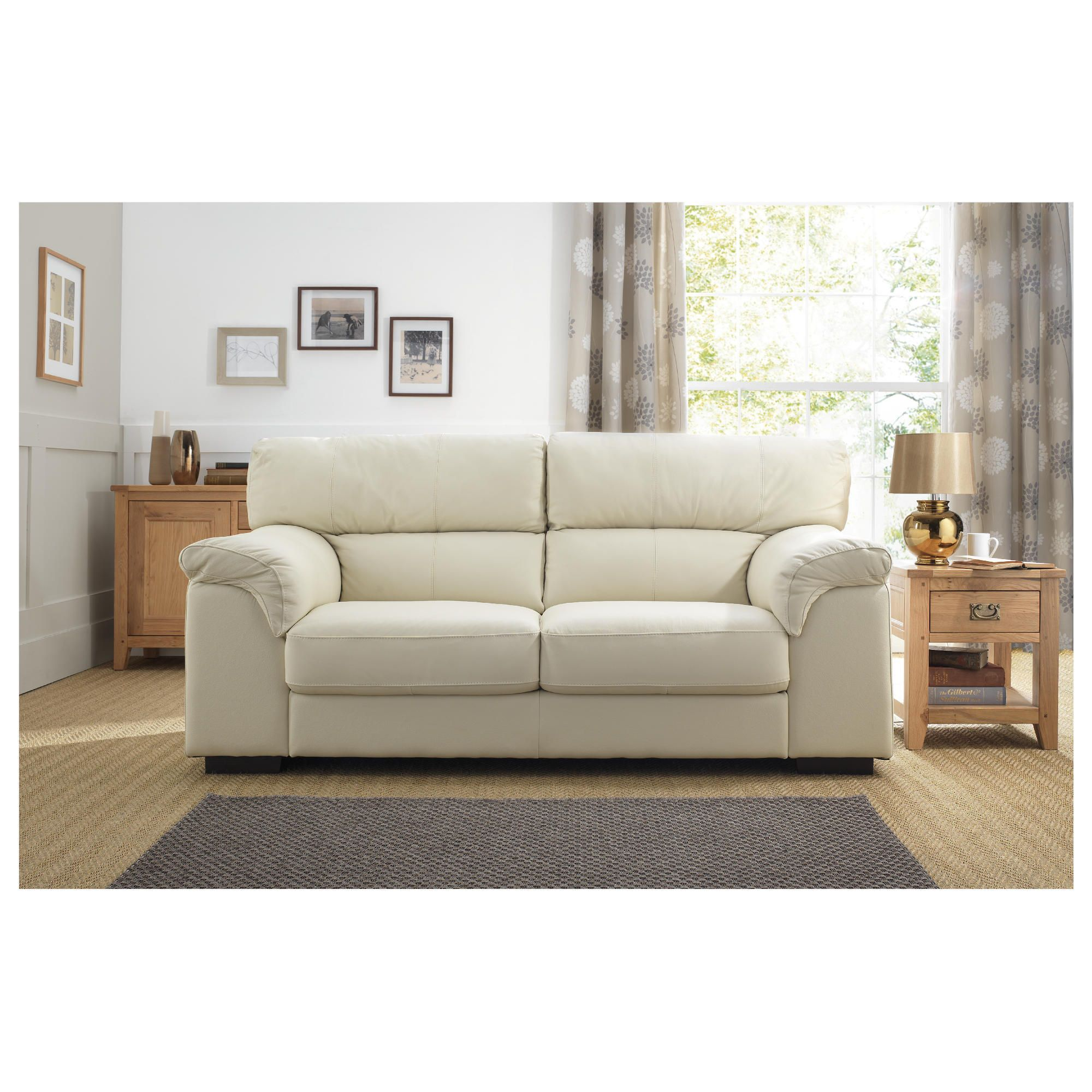 Galileo Large Leather Sofa Ivory at Tesco Direct