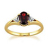 Gemondo 9ct Yellow Gold 0.77ct Natural Garnet & Diamond Single Stone Ring