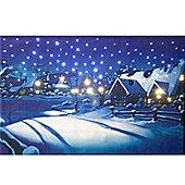 Musical Moonlit Village Snow Scene Wall Canvas