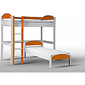 Maximus L Shape High Sleeper White With Orange Details