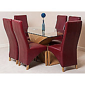Valencia Glass & Oak 160 cm Dining Table with 6 Burgundy Lola Leather Chairs
