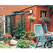 Elite Easygro Lean To Greenhouse – 2 x 6 - Green Powdercoated Finish + Base – Horticultural Glass