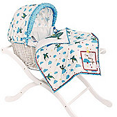 Pink Lining White Wicker Moses Basket (One Starry Night)