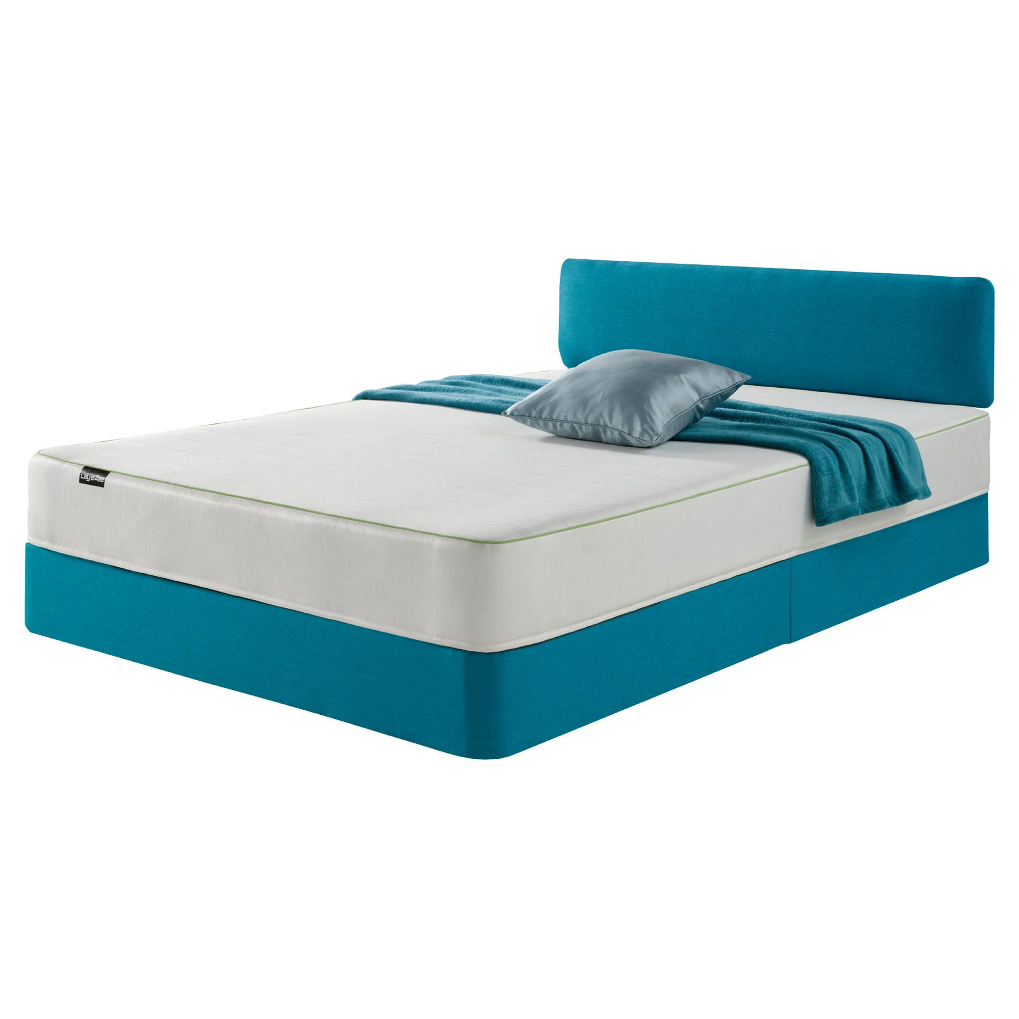 Layezee Teal Bed and Headboard Memory Mattress King at Tesco Direct