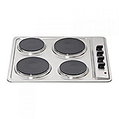 MHE001SS 60cm Electric 4 Plate Hob with 6 Power levels in Stainless Steel.