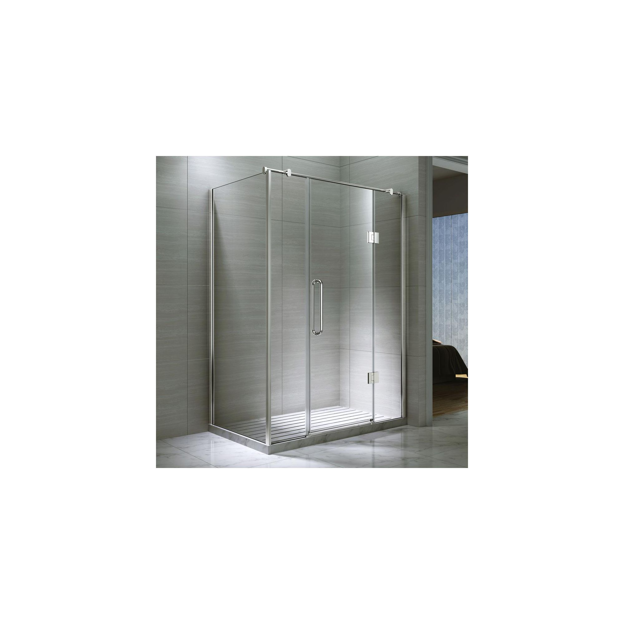Desire Ten Double Inline Hinged Shower Door with Side Panel, 1600mm x 800mm, Semi-Frameless, 10mm Glass at Tesco Direct