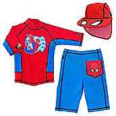 Ultimate Spiderman UV Shirt Shorts and Sun Hat 7 to 8 Years