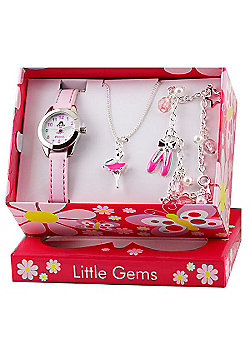 Girls Pink Ballerina Watch and Jewellery Gift Set