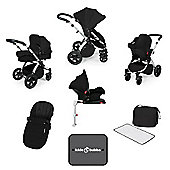 Ickle Bubba Stomp v3 AIO Travel System + Isofix Base, Mosquito Net & Cup Holder - Black (Silver Chassis)