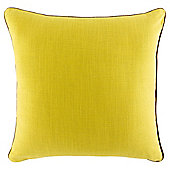 Contrast Piped Plain Cushion, Yellow