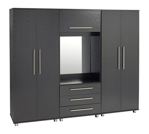 Ideal Furniture Bobby 4 door Wardrobe with drawers - White