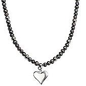 Black Pearl Silver Heart Necklace