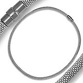Jewelco London Rhodium Coated Sterling Silver Tubular Mesh Popcorn Necklace - 5mm