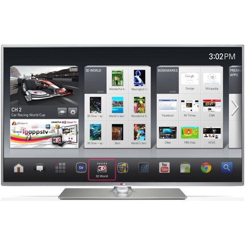 LG 60LB650V 60 Inch 3D Smart WebOS WiFi Built In Full HD 1080p LED TV with Freeview HD - Silver