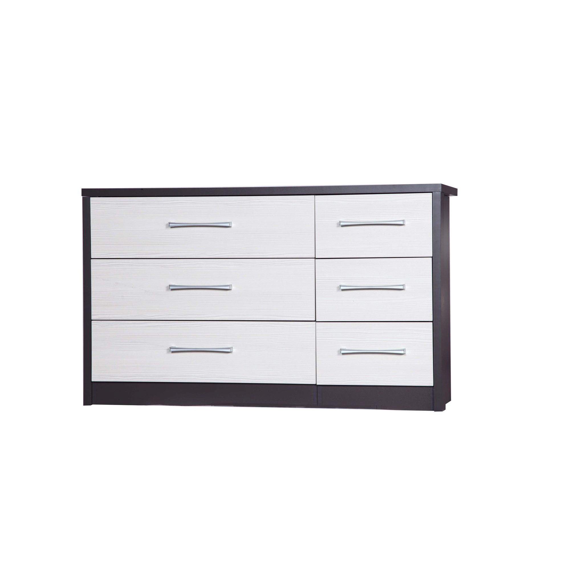 Alto Furniture Avola 6 Drawer Double Chest - Grey Carcass With White Avola at Tesco Direct