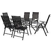 Cayman 8pc Black Rectangular Recliner Set - 150 x 90cm Anthracite Table, 6 Chairs, 2.5m Parasol
