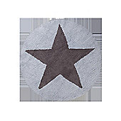 Lorena Canals Reversible Star Blue and Dark Grey Children's Rug - 140 cm W x 140 cm D (4 ft 9 in x 4 ft 9 in)
