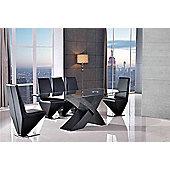 Valencia Glass & Black Oak 160 cm Dining Table & 4 Rita Black Chairs