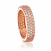 Rose gold plated stacking ring with cubic zirconia stones