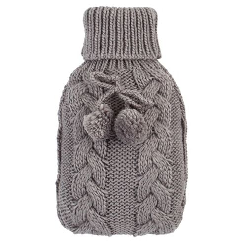 Cable Knit Hot Water Bottle Grey