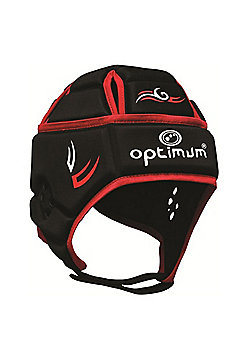 Optimum Tribal Rugby Headguard Scrum Cap - Black / Red - Black