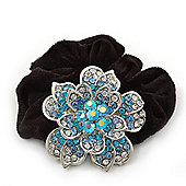 Large Sculptured Rhodium Plated Swarovski Crystal Flower Pony Tail Black Hair Scrunchie - Blue/ Clear
