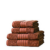 Dreamscene 100% Egyptian Cotton 4 Piece Hand Bath Towel Set - Chocolate
