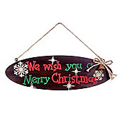 Hanging Oval Wooden Christmas 'Merry Christmas' Lyric Sign