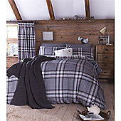 Catherine Lansfield Kelso  Bed Cotton Rich Quilt Set Duck egg - Charcoal
