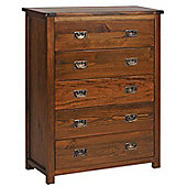 Core Products Boston BT215 Walnut Chest of 5 Drawers